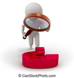 Investigation - 3d character with a magnifying glass...