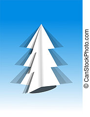 White Christmas tree on blue background - illustration