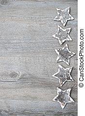 Abedul, corteza, estrellas, encima, de madera, Plano de...