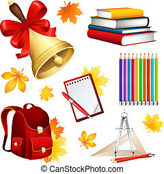 School set - Vector illustration of a school set from...