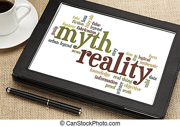 myth and reality word cloud - cloud of words or tags related...