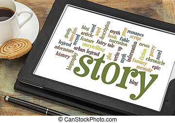 story and storytelling word clouds - cloud of words or tags...