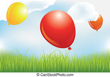 Balloons over meadow in clouds