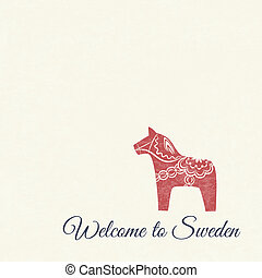Welcome card with swedish wooden Dala horse - Greeting card...
