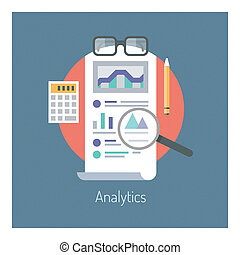 Analytics and statistics illustration - Flat design vector...