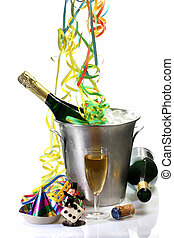 New Years Eve with Champagne - Champagne toast composition...