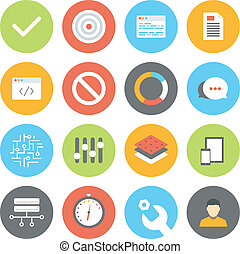 Web and UI flat icons set - Modern flat design vector...