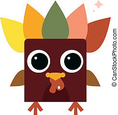 Cute retro colorful Turkey isolated on white - Funny...