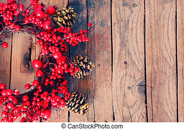 Xmas garland - Photo of christmas garland on wooden...