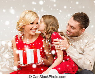 adorable child kisses her mother - family, christmas, x-mas,...