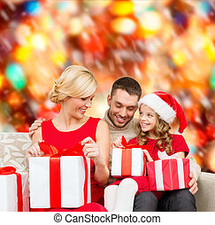 happy family opening gift boxes - family, christmas, x-mas,...