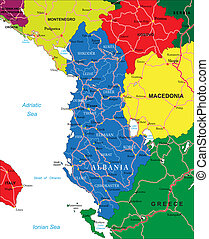 Albania map - Highly detailed vector map of Albania with...