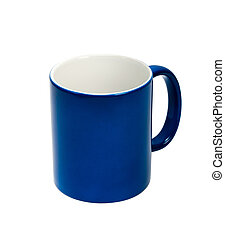 blue cup on white background