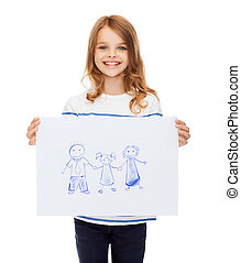 smiling little child holding picture of family - creation,...