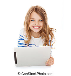 smiling student girl with tablet pc computer - education,...