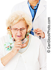 Senior Woman Coughing While Doctor Examining Her