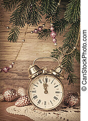 New Year's old decoration  with an antique clock