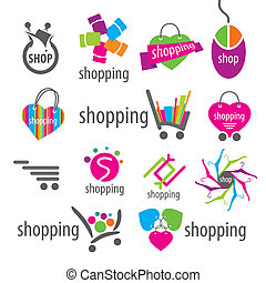 collection of vector logos and shopping discounts basket