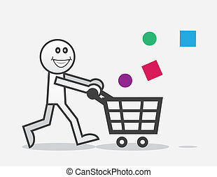 Shopper Happy - Happy shopper with objects falling into cart...