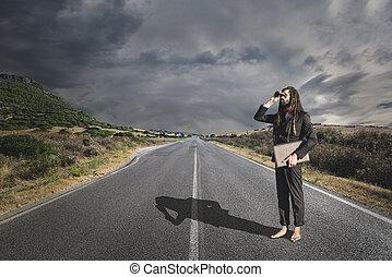 Stylish elegant dreadlocks businessman binoculars in road...