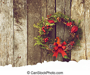 Christmas bird - Christmas wreath with natural decorations...