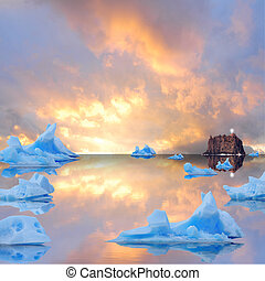 Icebergs. - Icebergs floating in the sea at sunset.