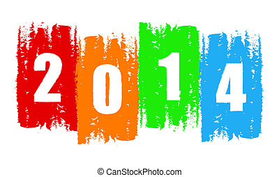 new year 2014 in drawn colorful banner, holiday concept