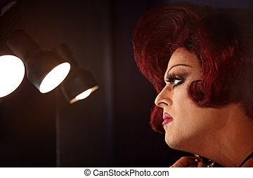 Drag Queen in Lights - Big beautiful Caucasian drag queen...