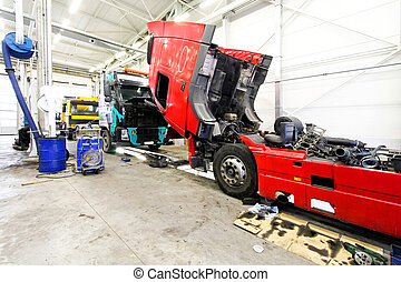Truck service - Red open truck in big service garage