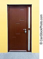 Brown door - Close up shot of brown wood door entrance