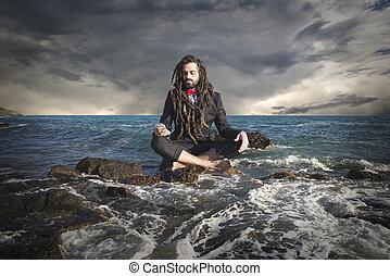 Stylish elegant dreadlocks businessman sea landscape -...