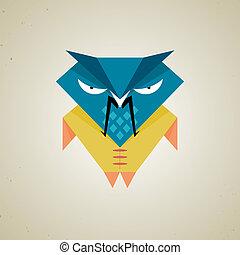 Cute little blue and yellow cartoon samurai owl - Vector...