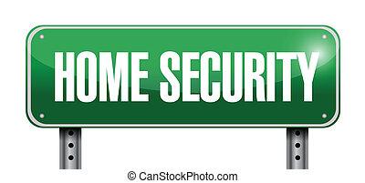 home security road sign illustration design