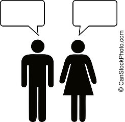 Man and woman talking