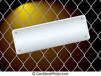wire fence night - Wire fence with a metal blank sign...