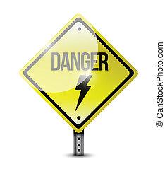 danger road sign illustration design