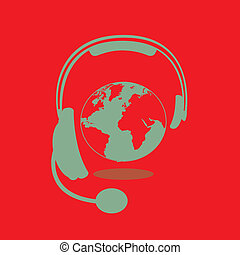 headset design over red background vector illustration