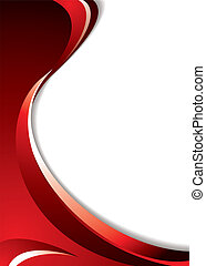 red curve - Shades of red background with flowing lines and...