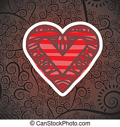 heart design over pattern background vector illustration