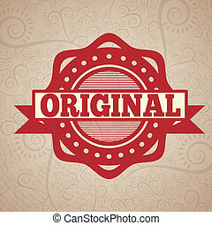 original seal over pattern background vector illustration