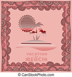 summer design over pink background vector illustration