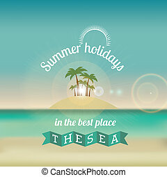 summer design - summer design over landscape background...
