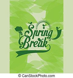 spring design over leafs background vector illustration