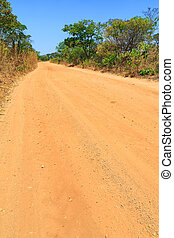 Abandon sand road in Africa through a forest