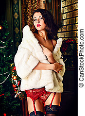 cherished desire - Beautiful young woman in in sexual red...