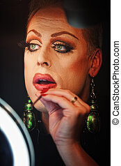 Man in Drag with Lipstick - Man in drag with lipstick and...