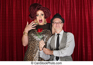 Man Gives Drag Queen a Rose
