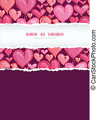 Red Valentine's Day Hearts Vertical Torn Frame Seamless Pattern Background