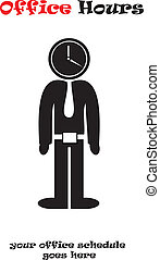 Office Hours vector illustration isolated over white...