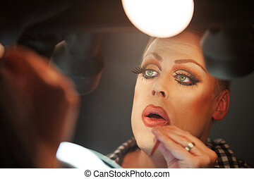 Close Up of Man with Makeup - Close up of serious man...